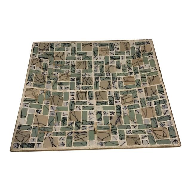 20th Century Scandinavian Modern Mosaic Green Serving Tray Plate For Sale