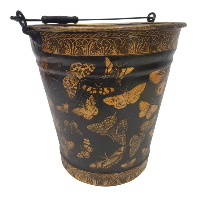 English Antique Bucket / Pail With Decoupage Butterflies - Found in Southern England For Sale