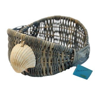 Blue Hand Dyed Basket For Sale