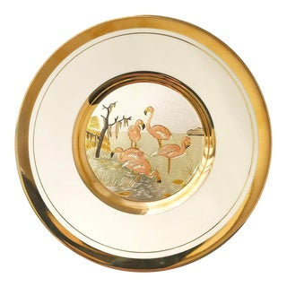24 Karat Gold Plated Flamingo Plate For Sale
