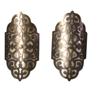 Pair of Traditional Ornate Bronze Wall Sconces For Sale