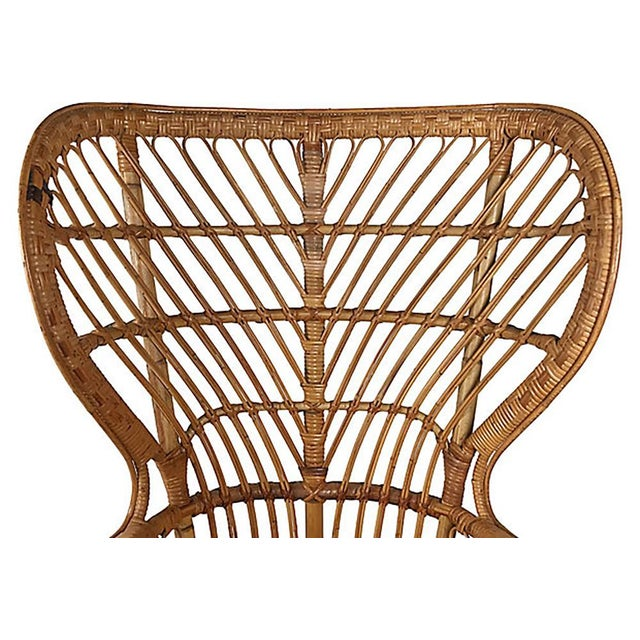 Rattan Wingback Chair by Lio Carminati For Sale In Kansas City - Image 6 of 12
