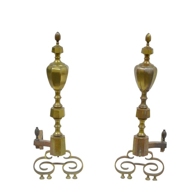 19th Century Antique Brass American Federal Fireplace Mantle Andirons - A Set For Sale