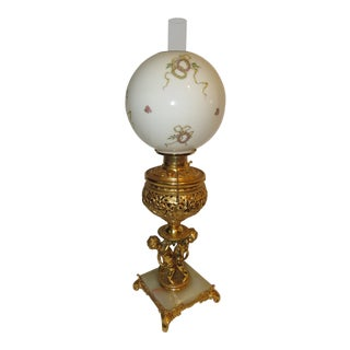 Antique Banquet Parlor Kerosene Oil Cherub Lamp For Sale