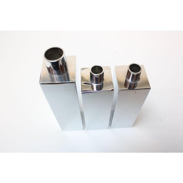 Hans-Agne Jakobsson Swedish Chrome-Plated Candle Holders - Set of 3 - Image 3 of 11