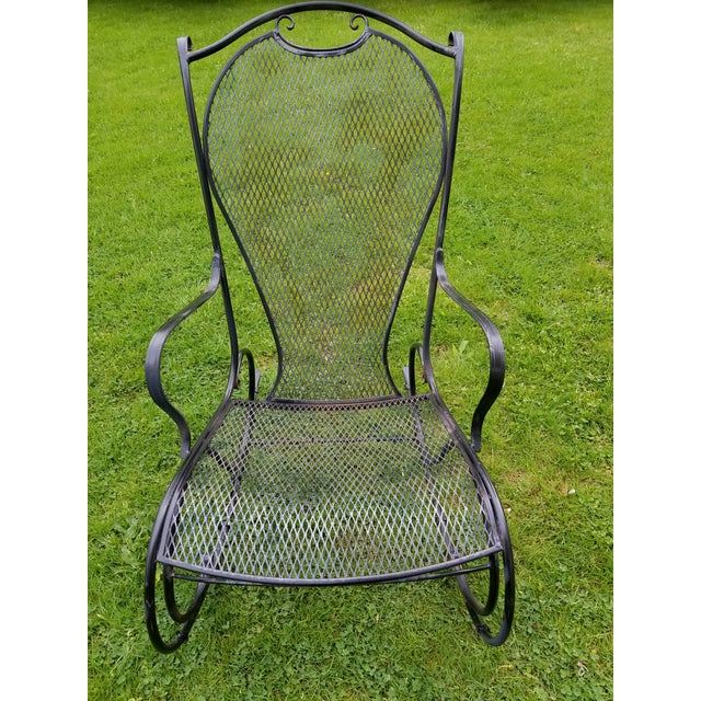 Russell Woodard Russell Woodard Wrought Iron Rocking Chair For Sale - Image 4 of 11