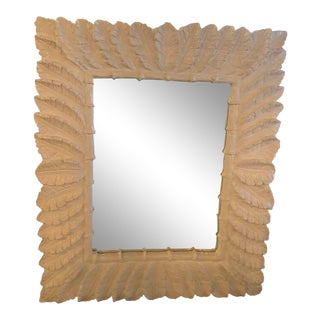 Vintage Hollywood Regency White Lacquered Tropical Palm Tree Leaf Wall Mirror For Sale
