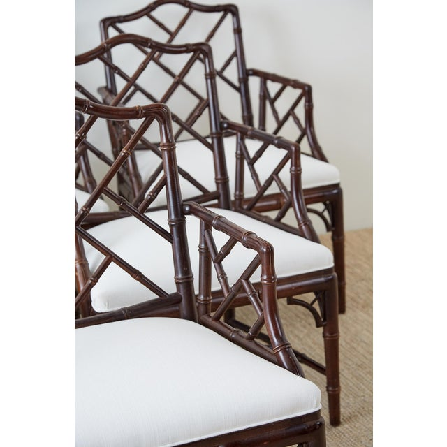 Chinese Chippendale Chocolate Lacquered Faux Bamboo Dining Chairs For Sale - Image 9 of 13