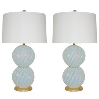 Vintage Murano White Opaline Glass Table Lamps