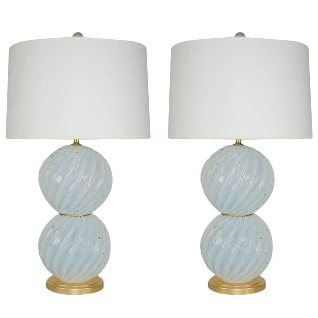 Vintage Murano White Opaline Glass Table Lamps For Sale