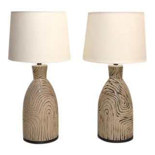 Sand Table Lamps and Linen Shades - a Pair For Sale