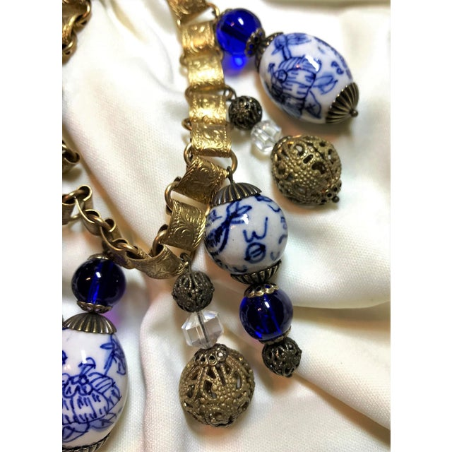 Chinese Blue and White Porcelain Bead and Brass Bookchain Necklace For Sale In Los Angeles - Image 6 of 9