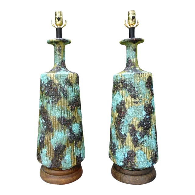 Larger Italian Bitossi Attributed Glazed Ceramic Lamps-A Pair For Sale