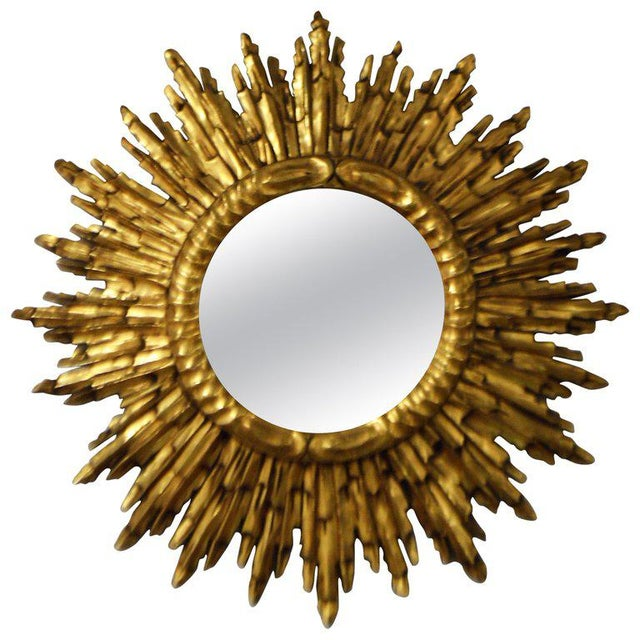 Gold Leaf Gilded Wood Sunburst Mirror, France Circa 1920 For Sale - Image 9 of 9