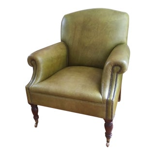 George Smith Green Faux Leather Club Chair For Sale
