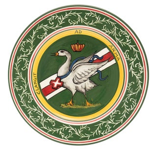 """Goose Dinner Plate 11.5"""", Contrade Dinnerware From Siena For Sale"""