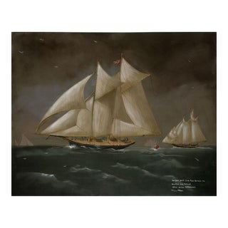 New York Yacht Race Between the Dauntless and the Mohawk Painting For Sale