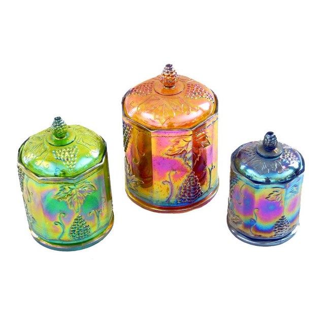 Lidded Iridescent Lime Green, Orange and Blue Carnival Glass Canisters - Set of 3 For Sale - Image 13 of 13