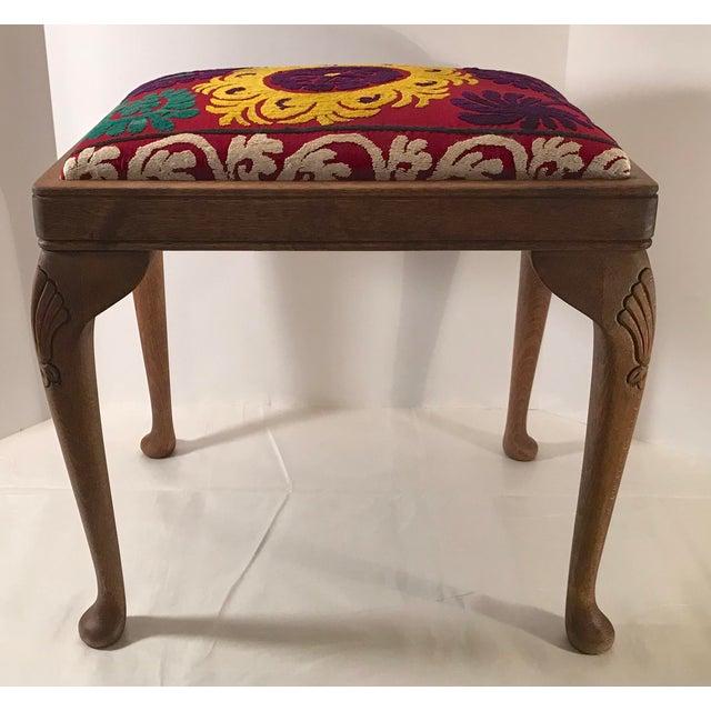 Persian 20th Century Persian Uzbek Suzani Stool Bench For Sale - Image 3 of 9