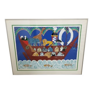 Vintage 1980's Carolyn Sihler Connors Noah's Ark Limited Edition Print For Sale