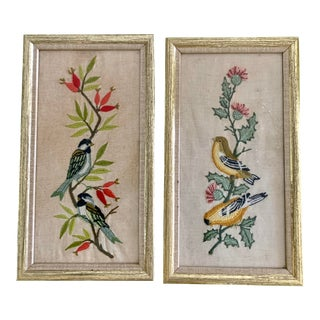 Set of Two Vintage Embroidery Framed Birds For Sale