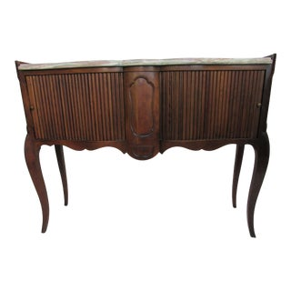 French Style Marble Top Tambour Cabinet by a Division of John Widdicomb For Sale