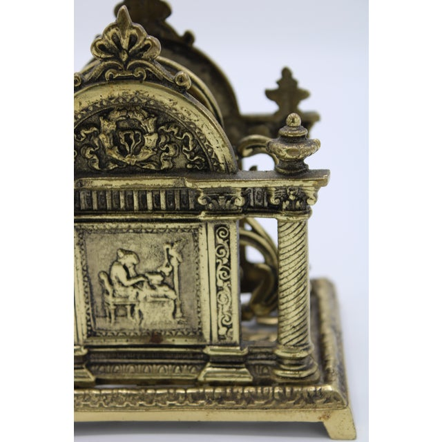 Early 20th Century Renaissance Revival Double Brass Letter Rack With Carrying Handle For Sale - Image 5 of 12