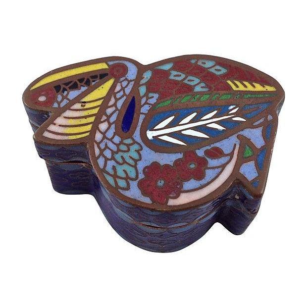 Antique Cloisonné Pelican Box - Image 3 of 7