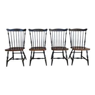 L. Hitchcock Riverton Harvest Fan Back Windsor Side Chairs - Set of 4 For Sale
