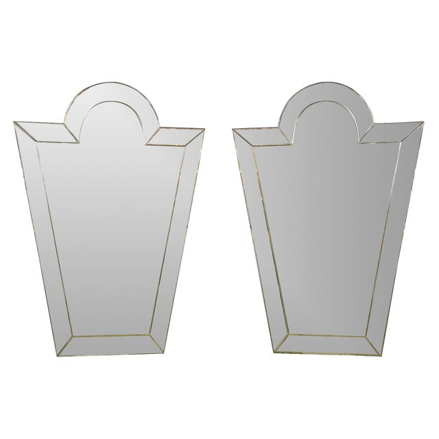 Glass Venetian 'Key Hole' Shaped Mirrors - A Pair For Sale - Image 7 of 7