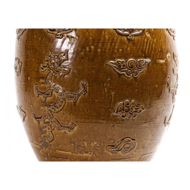 Chinese Stoneware Storage Martaban Jars with Dragon Relief For Sale In Atlanta - Image 6 of 13