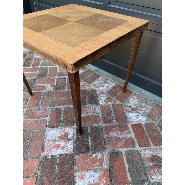 Mid-Century Modern Antique Mid-Century Modern Wood Inlay Folding Game Table For Sale - Image 3 of 10