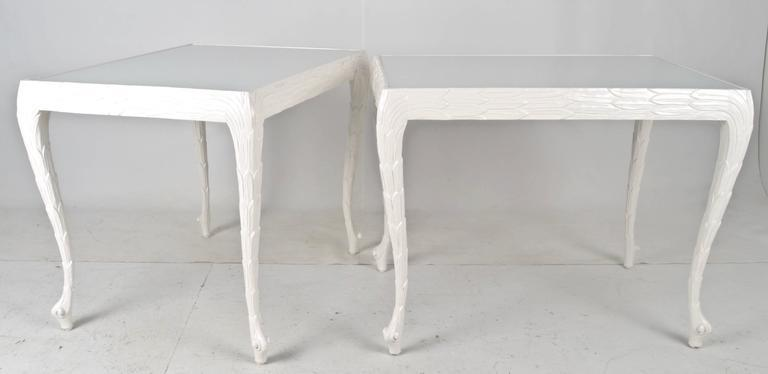 Acanthus Leaf Carved Tables With White Glass Tops   Image 2 Of 7