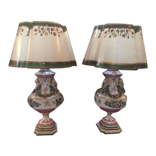 French 1900's Porcelain Urn Table Lamps - a Pair For Sale