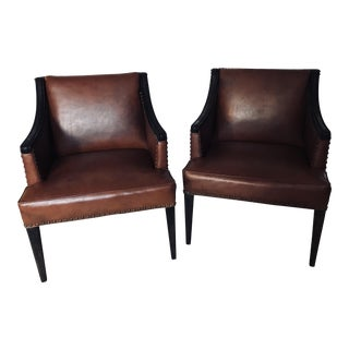 Mid-Century Studded Vinyl Club Chairs - A Pair