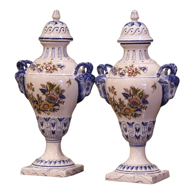 """Pair of Mid-Century French Hand Painted Faience """"Saint Clement"""" Urns With Lids For Sale"""