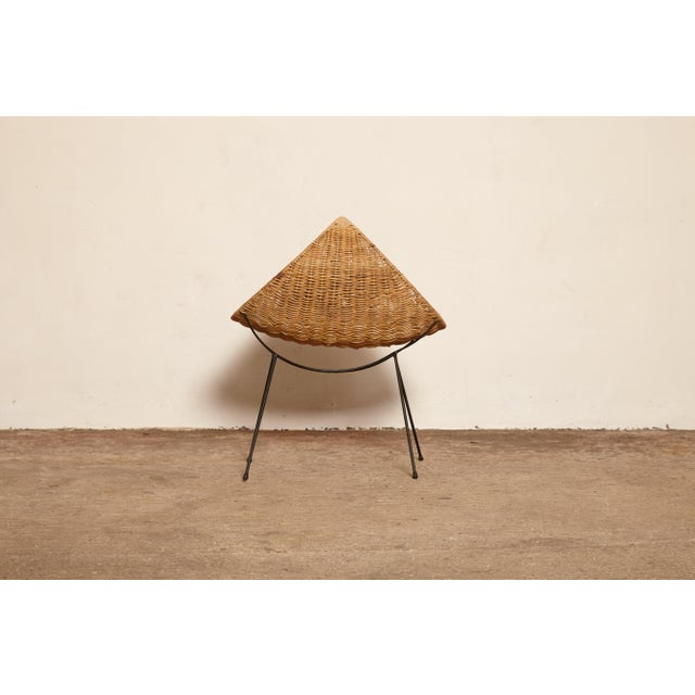 Brown Cane Magazine Rack, Attributed to Franco Campo, Carlo Graffi, 1950s, Italy For Sale - Image 8 of 9