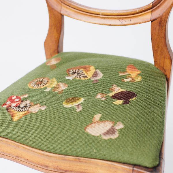 Shield Back Side Chair With Petit Point Seat For Sale - Image 5 of 6