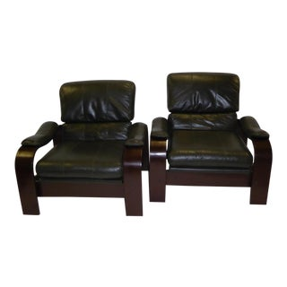 Scandinavian Modern Dark Green Leather & Bentwood Lounge Chairs - a Pair For Sale