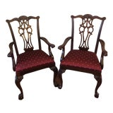 Image of Ethan Allen Mahogany Chauncey Arm Host Chairs- A Pair For Sale