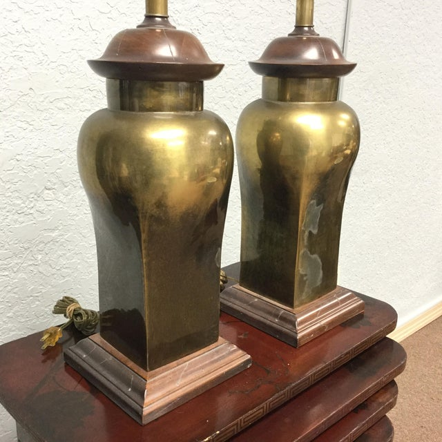 Ethan Allen 20th Century Hollywood Regency Ethan Allen Brass Table Lamps - a Pair For Sale - Image 4 of 9