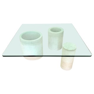 Angelo Mangiarotti Style Carrara Mable Glass Cocktail or Coffee Table, 1987 For Sale