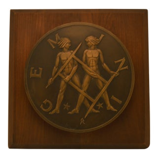 Vintage Bronze Gemini Plaque For Sale