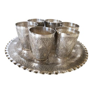 Moroccan Silver Plate Drink Serving Set For Sale