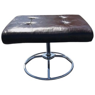 Brown Leather and Chrome Plycraft Ottoman For Sale