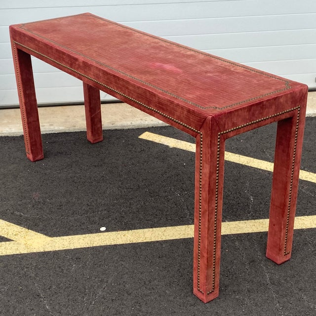 1970s Distressed Velvet Nailhead Parsons Console Table For Sale - Image 13 of 13