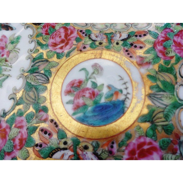 Asian 19th C Chinese Export Porcelain Rose Medallion Soup Plate For Sale - Image 3 of 11
