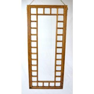 Antique Oak Framed Beveled Glass Windows Hanging Room Dividers - a Pair Preview