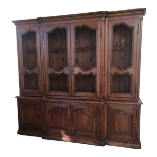 Mid 19th Century Vintage French Louis XV Oak Display Cabinet For Sale