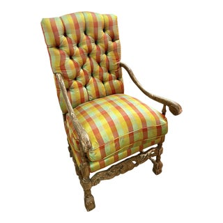 Late 18th Century French Louis XIII Style Os De Mouton Carved Accent Chair For Sale